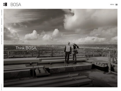 The homepage of the BOSA Development website.