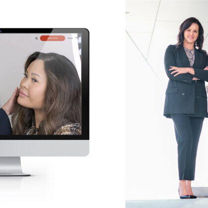 On the left is a computer screen showing the LUX Skin Lab website. On the right stands a smiling woman.
