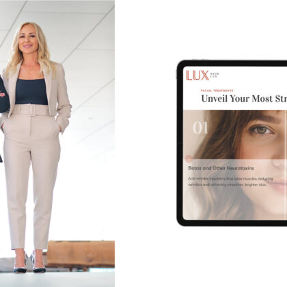 A woman stands smiling on the left. On the right is one half of a screen showing the LUX Skin Lab website.