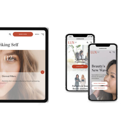 Two phone screens and one desktop show the LUX Skin Lab website.