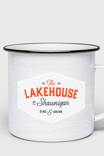 A mug branded with The Lakehouse at Shawnigan. Dine & Drink.