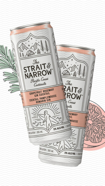 Two cans of Strait & Narrow cocktails