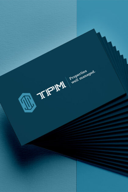 TPM business cards with the logo and tagline: Properties well managed.