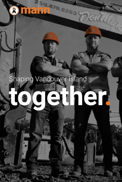 A photo of the Don Mann website. Two men in construction gear stand proudly, with their arms crossed. The text reads: Shaping Vancouver Island together.
