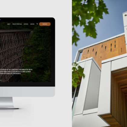 Half of the screen shows a monitor showing the Knappett website while the other half shows an image of a building